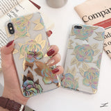 Gold Bronzing Rose Flower Clear Soft Phone Case Back Cover for iPhone SE/11/11 Pro/11 Pro Max/XS Max/XR/XS/X/8 Plus/8/7 Plus/7 - caseative