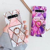 Artistic Geometric Marble Texture with Ring Holder Soft TPU Phone Case Back Cover for Samsung Galaxy S20 Ultra/S20 Plus/S20/S10E/S10 Plus/S10/S9 Plus/S9/S8 Plus/S8/Note 9/Note 8 - caseative