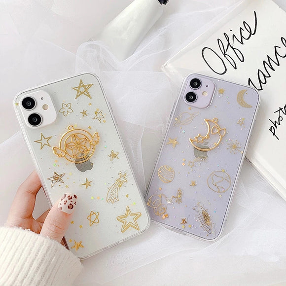 Glitter Moon Starry Sky Soft iPhone Case