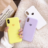Candy Color Love Heart Soft TPU Phone Case Back Cover for iPhone SE/11 Pro Max/11 Pro/11/XS Max/XR/XS/X/8 Plus/8/7 Plus/7/6s Plus/6s/6 Plus/6 - caseative