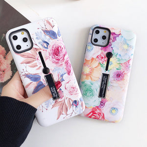 Fashion Flower Hide Ring Stand Holder Phone Case Back Cover for iPhone SE/11 Pro Max/11 Pro/11/XS Max/XR/XS/X/8 Plus/8/7 Plus/7/6s Plus/6s/6 Plus/6 - caseative