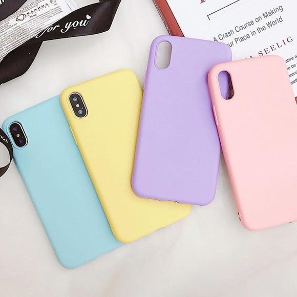Candy Color Solid Silicone  Phone Case Back Cover for iPhone XS Max/XR/XS/X/8 Plus/8/7 Plus/7/6s Plus/6s/6 Plus/6 - caseative