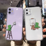 Cute Cartoon Dinosaur Painting Transpaent Soft Phone Case Back Cover for iPhone 11/11 Pro/11 Pro Max/XS Max/XR/XS/X/8 Plus/8/7 Plus/7 - caseative