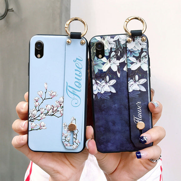 Fashion Flower Lanyard Stand Phone Case Back Cover for OPPO Reno/Find X/R15X/R15 Dream Mirror/R15/R17/R17 Pro/A7/A5/A3 - caseative