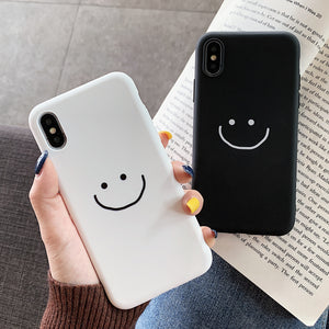 Solid Color Smile Face Soft Silicone iPhone Case