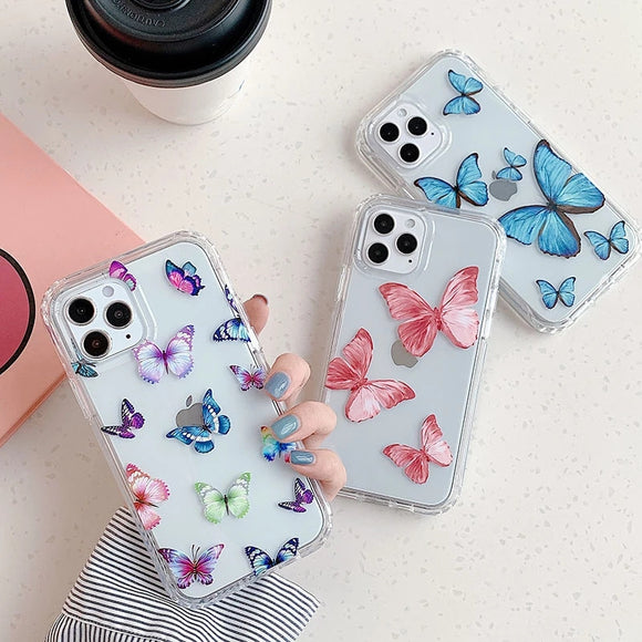 Beautiful Colorful Butterfly Transparent Soft iPhone Case