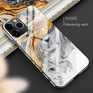 Luxury Tempered Glass TPU Hard Marble Phone Case Back Cover for iPhone 11/11 Pro/11 Pro Max/XS Max/XR/XS/X/8 Plus/8/7 Plus/7 - caseative
