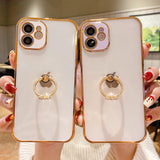 Luxury Plating Ring Clear Soft iPhone Case