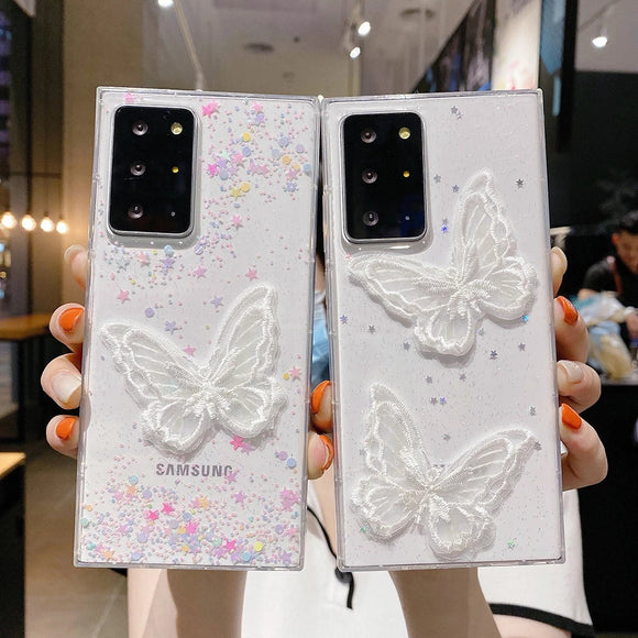 Lace Butterfly Glitter Star Clear Soft Samsung Case
