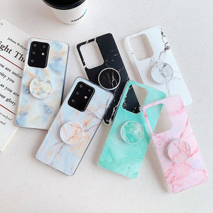 Simple Gradient Marble Fissure Stand Holder Soft Samsung Case