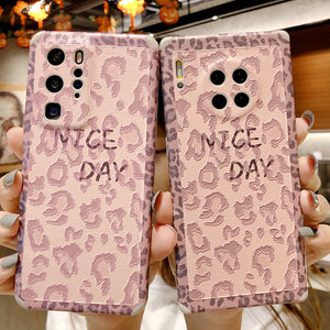 Pink Leopard Soft Huawei Case