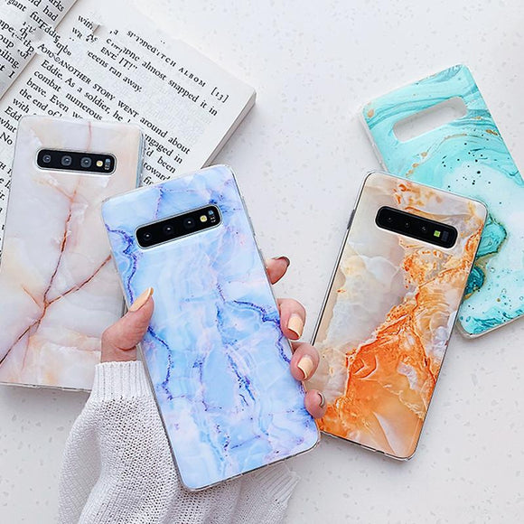 Simple Marble Soft TPU Phone Case Back Cover for Samsung Galaxy S10E/S10 Plus/S10/S9 Plus/S9/S8 Plus/S8/Note 9/Note 8 - caseative