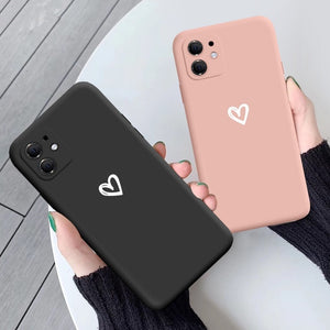 Candy Color Love Heart Soft iPhone Case