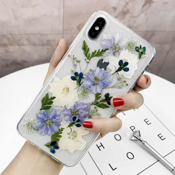 Luxury Handmade Dried Real Flowers Pressed Clear Phone Case Back Cover for iPhone SE/11 Pro Max/11 Pro/11/XS Max/XR/XS/X/8 Plus/8/7 Plus/7/6s Plus/6s/6 Plus/6 - caseative