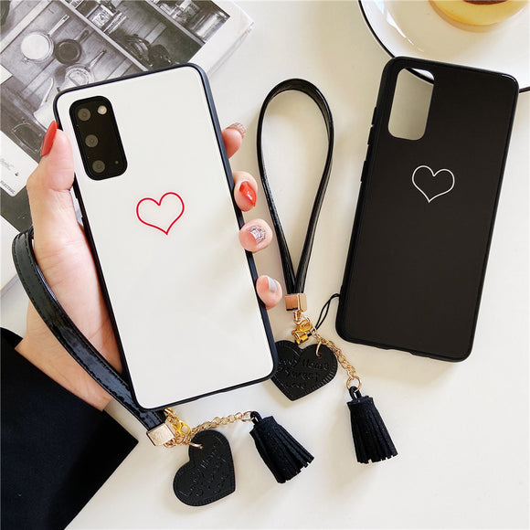 Simple Hollow Love Heart Lanyard Soft Samsung Case