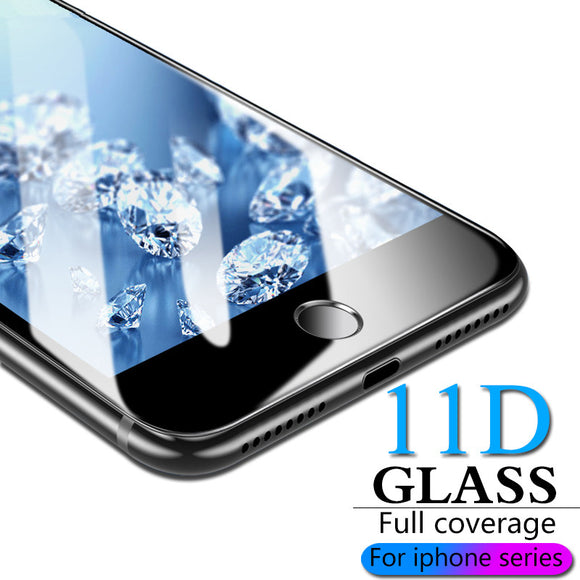11D Tempered Glass Screen Protector for iPhone 11 Pro Max/11 Pro/11/XS Max/XR/XS/X/8 Plus/8/7 Plus/7/6s Plus/6s/6 Plus/6 - caseative