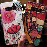 3D Embossment Retro Colorful Flower Samsung Case