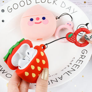 Cartoon Strawberry Peach with Ring Lanyard Wireless Bluetooth Earphone Cases for Airpods - caseative