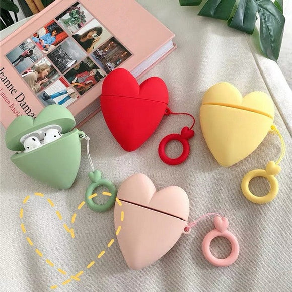 3D Cute Candy Color Love Heart with Key Ring Lanyard Wireless Bluetooth Earphone Cases for Airpods - caseative