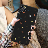 Colorful Love Heart Black Soft iPhone Case