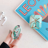 Geometric Electroplated Marble Soft AirPods Case