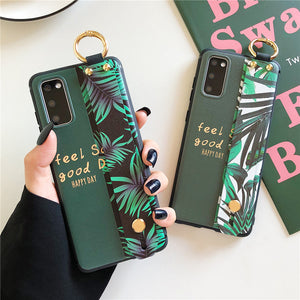 Relief Banana Leaves Wrist Strap Stand Holder Soft Samsung Case
