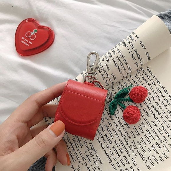 Leather Luxury Cherry Peach with Key Rings Wireless Bluetooth Earphone Cases for Airpods