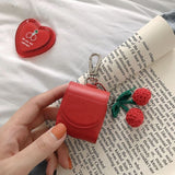 Leather Luxury Cherry Peach with Key Rings Wireless Bluetooth Earphone Cases for Airpods - caseative