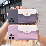 Silicone Wallets Card Holder Soft iPhone Case