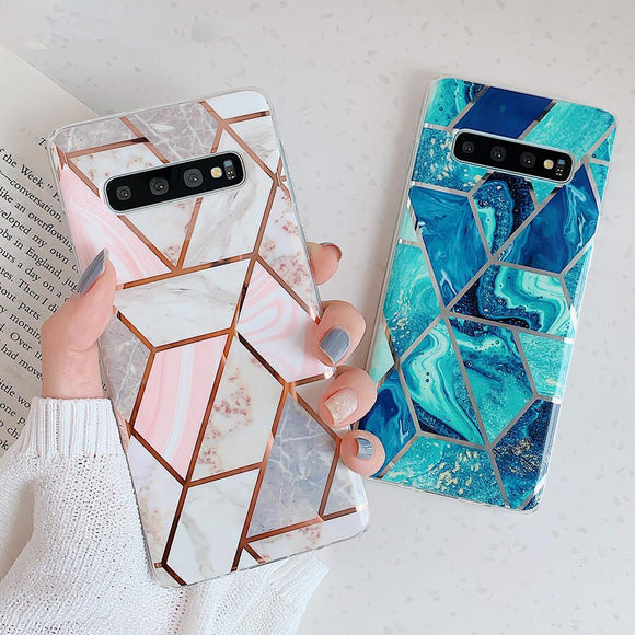 Artistic Geometric Marble Texture Soft TPU Phone Case Back Cover for Samsung Galaxy S20 Ultra/S20 Plus/S20/S10E/S10 Plus/S10/S9 Plus/S9/S8 Plus/S8/Note 10 Pro/Note 10 - caseative