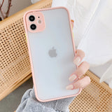 Candy Color Frame Matte Camera Protector Soft iPhone Case
