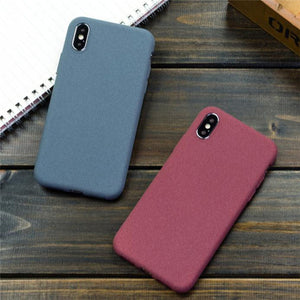 Solid Color Scrub Phone Case Back Cover for iPhone SE/11 Pro Max/11 Pro/11/XS Max/XR/XS/X/8 Plus/8/7 Plus/7/6s Plus/6s/6 Plus/6 - caseative