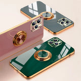 Plating Solid Color Ring Stand Holder Soft iPhone Case