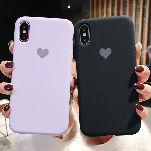 Candy Color Love Heart Soft Silicone Phone Case Back Cover for iPhone SE/11 Pro Max/11 Pro/11/XS Max/XR/XS/X/8 Plus/8/7 Plus/7/6s Plus/6s/6 Plus/6 - caseative