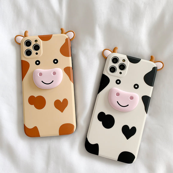 Cute 3D Cow Silicone Soft iPhone Case