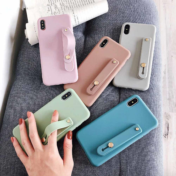 Candy Color Wrist Strap Hand Band Phone Case Back Cover for iPhone 11 Pro Max/11 Pro/11/XS Max/XR/XS/X/8 Plus/8/7 Plus/7/6s Plus/6s/6 Plus/6 - caseative