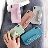 Candy Color Wrist Strap Hand Band iPhone Case