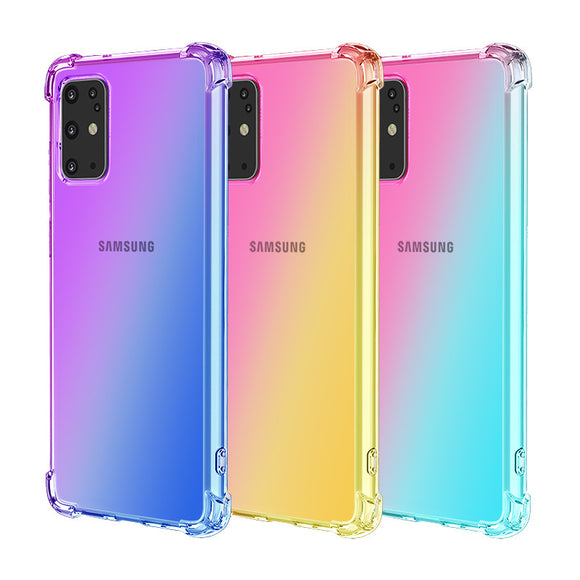 Gradient Contrast Transparent Soft Phone Case Back Cover for Samsung Galaxy S20 Ultra/S20 Plus/S20/S10E/S10 Plus/S10/S9 Plus/S9/Note 10 Pro/Note 10 - caseative