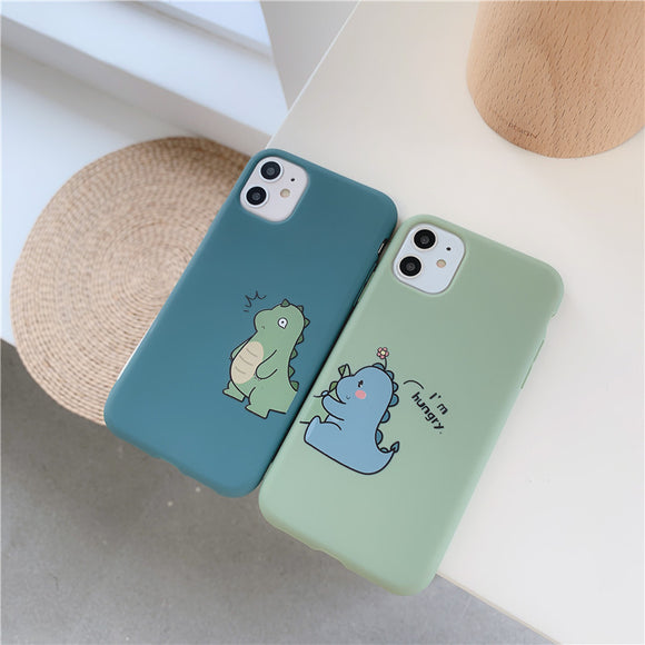 Cute Dinosaur Couples Soft iPhone Case