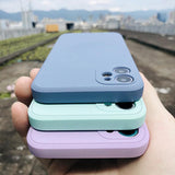 Candy Color Square Liquid Silicone iPhone Case