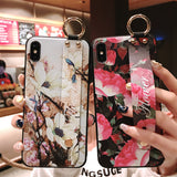 Retro Flower Wrist Strap Soft Samsung Case