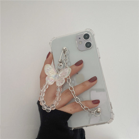 Butterfly Pendent Bracelet Transparent Soft iPhone Case