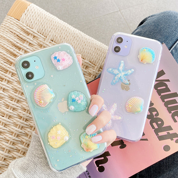 Summer Epoxy Shells Clear Soft iPhone Case