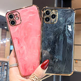 Plating Edge Marble Soft iPhone Case
