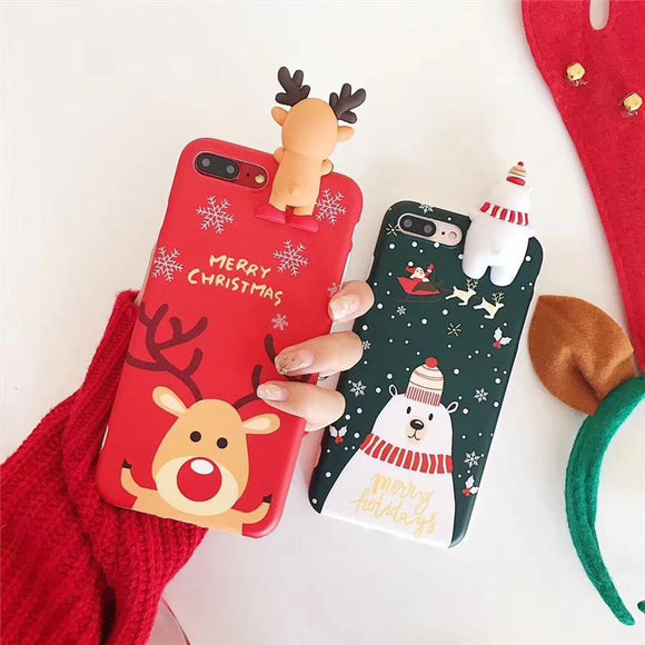 Christmas 3D Deer Snowman Phone Case Back Cover for iPhone 11 Pro Max/11 Pro/11/XS Max/XR/XS/X/8 Plus/8/7 Plus/7/6s Plus/6s/6 Plus/6 - caseative