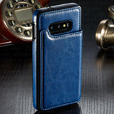 Leather Wallet Magnet Flip Card Slot Phone Case Back Cover for Samsung Galaxy S10E/S10 Plus/S10/S9 Plus/S9/S8 Plus/S8/Note 8/Note 9 - caseative