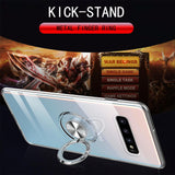 Simple Car Magnetic Ring Kickstand Soft TPU Phone Case Back Cover for Samsung Galaxy S20 Ultra/S20 Plus/S20/S10E/S10 Plus/S10/S9 Plus/S9/S8 Plus/S8/Note 10 Pro/Note 10/Note 9/Note 8 - caseative
