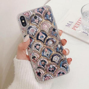 Luxury Vintage Floral Liquid Quicksand Soft Phone Case Back Cover for iPhone SE/11/11 Pro/11 Pro Max/XS Max/XR/XS/X/8 Plus/8/7 Plus/7 - caseative