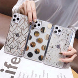 Simple Love Heart Dot Star Electroplated Transparent Soft iPhone Case