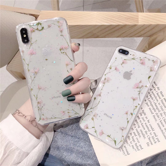 3D Real Dried Flower Glitter Stars Transparent Soft iPhone Case
